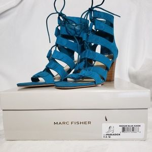 Marc Fisher Paradox Lace Up Booties Teal Size 7.5M